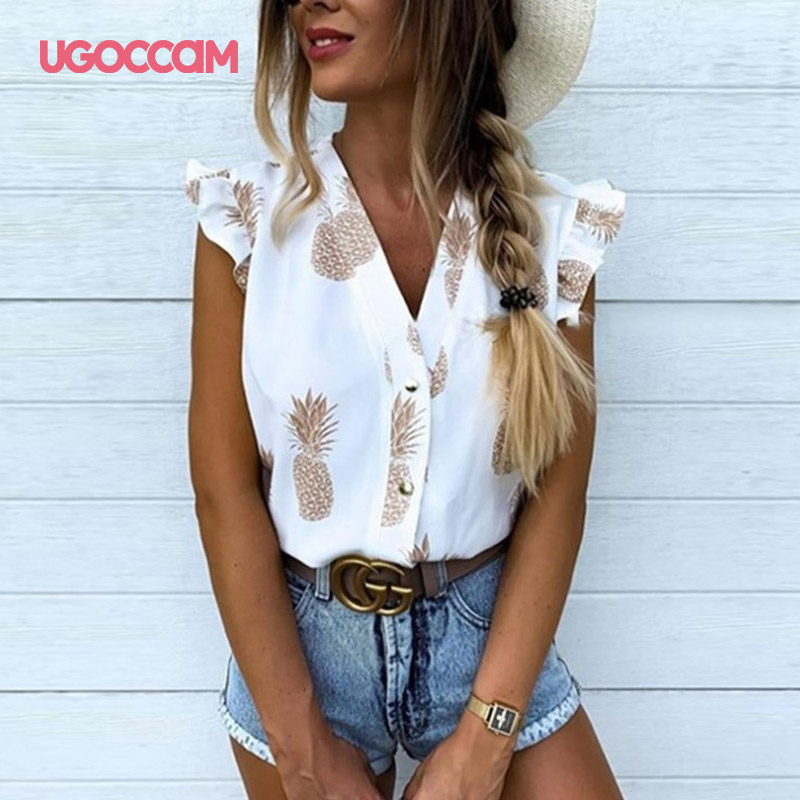 UGOCCAM Pineapple Print Blouse Sleeveless V Neck 2020 Summer Blouse Ruffles Button Elegant Fashion Women Tops Casual Clothes