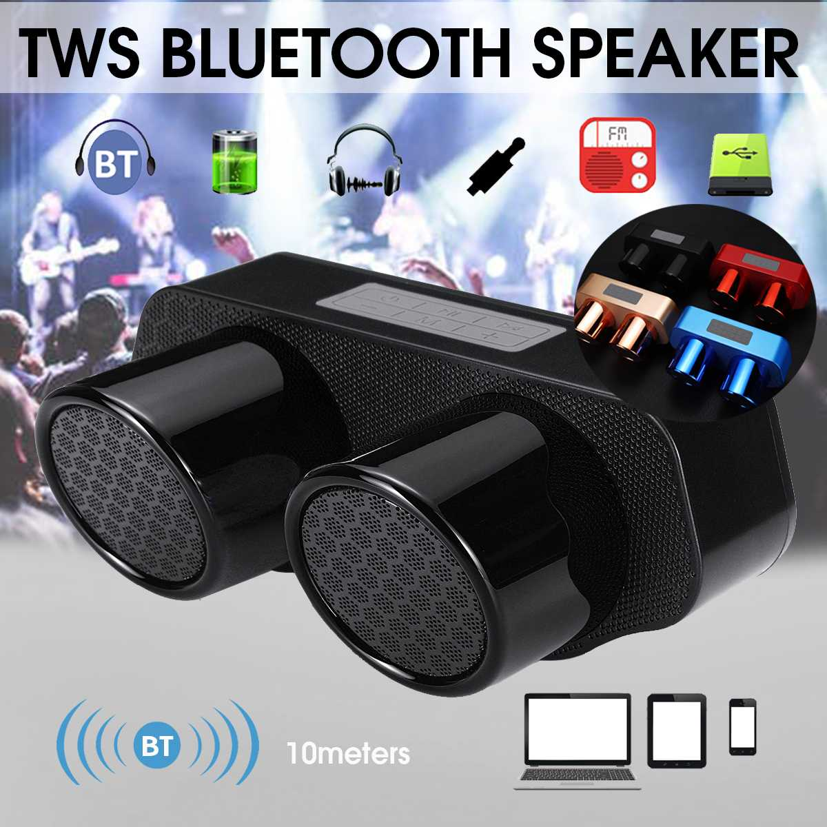 TF Card Portable Wireless Speaker 10W with Microphone FM Radio Speaker with AUX-in USB Player with Bass red Cloth Speaker
