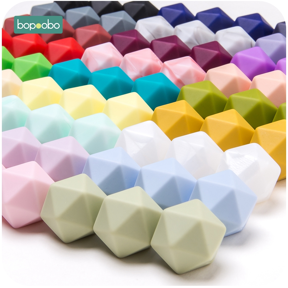 Bopoobo 50pc Silicone Hexagon Beads 14mm BPA Free Food Grade Baby Teether Diy Pendant Pacifier Chain Nursing Accessories Gifts