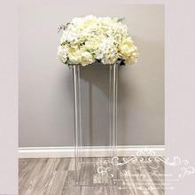 卸売非環式床の花瓶クリア花瓶テーブルセンターピース結婚現代ヴィンテージ花スタンド列結婚式の装飾