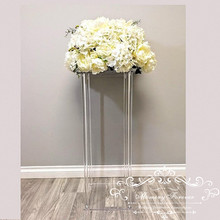 Wholesale Acylic Floor Vase Clear Flower Vase Table Centerpiece Marriage Modern Vintage Floral Stand Columns Wedding Decoration