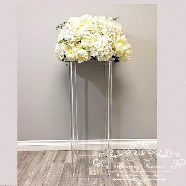 Wholesale Acylic Floor Vase Clear Flower Vase Table Centerpiece Marriage Modern Vintage Floral Stand Columns Wedding Decoration
