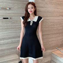 Женское повседневное мини платье с коротким рукавом тонкие черные