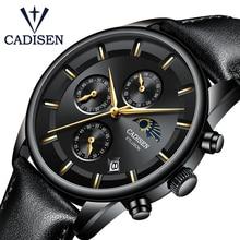 CADISEN ساعة الرجال العلامة التجارية الفاخرة الرجال الموضة ساعة الجلد العارضة الكوارتز مقاوم للماء ساعة اليد القمر المرحلة Relogio Masculino