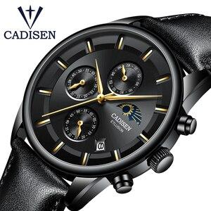 Image 1 - Cadien montre de luxe pour hommes, montre bracelet à Quartz, étanche, Phase lunaire, mode montre cuir décontractée