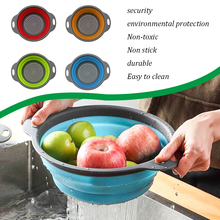 1Pc Silicone Folding Drain Basket 4 Colors Creative Retractable Fruit Vegetable Colander Tools Kitchen Storage Gadgets