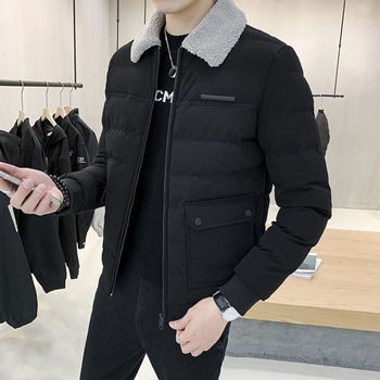 Men in cotton padded men's 2020 winter thickened new Korean style cool cotton jacket youth fashion coat top 2020 men s cotton clothes printed winter jacket coat youth men s cotton padded coat cold proof warm men s clothing