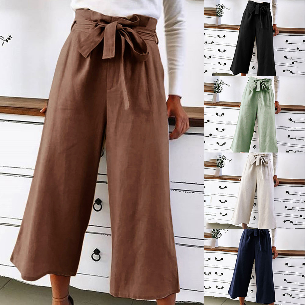 2019 Womens Casual Loose Wide Leg Pant Womens Fashion Preppy Style Trousers Female Pure Color Females New Palazzo Pants