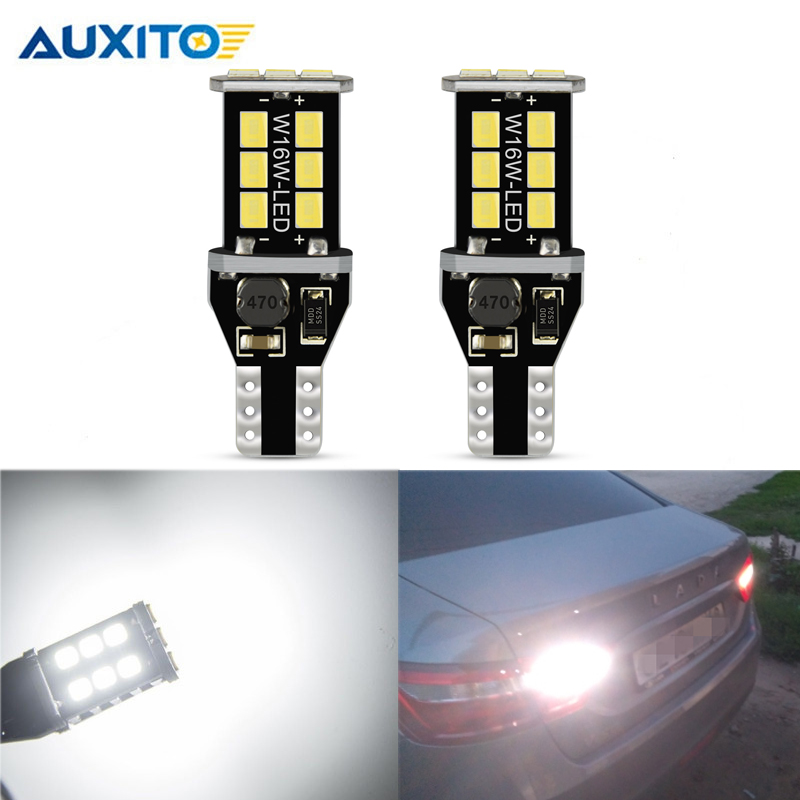 2PCS W16W LED T15 CANBUS Car Backup Reserve Lights Bulb NO OBC ERROR Tail Lamp For Lada Granta Niva Priora Kalina Xray Vesta
