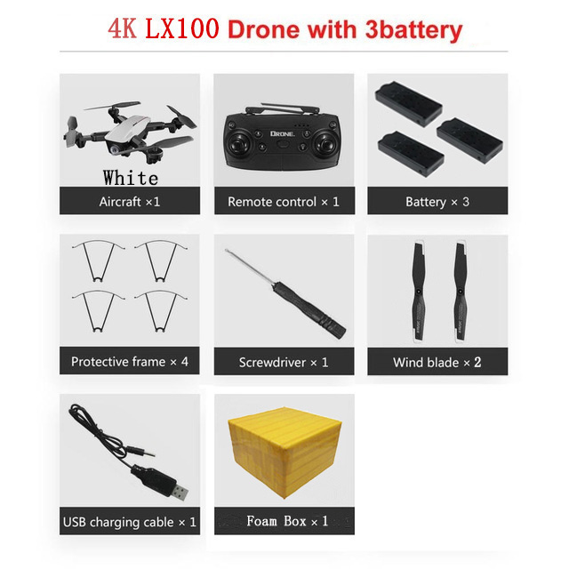 LAUMOX LX100 Радиоуправляемый Дрон с 4 K/1080 P HD камерой оптическое позиционирование потока wifi FPV складной Квадрокоптер вертолет дроны следуем за мной - Цвет: 4K 3B FB W