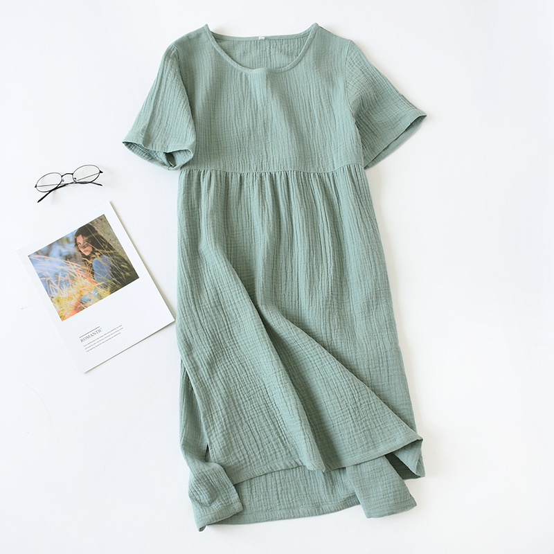 Summer New Style WOMEN'S Short-sleeved Clothes Nightgown Cotton Crepe Women's Short Sleeve Skirt Summer Pure Cotton Dress-Outer