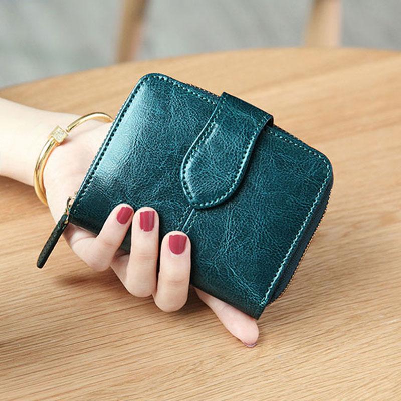Image 4 - Billfold Oil Wax Genuine Leather Wallets Women Short Mini Clutch Purse Soild Coin Pocket Credit Card Holder Cowhide BagWallets   -