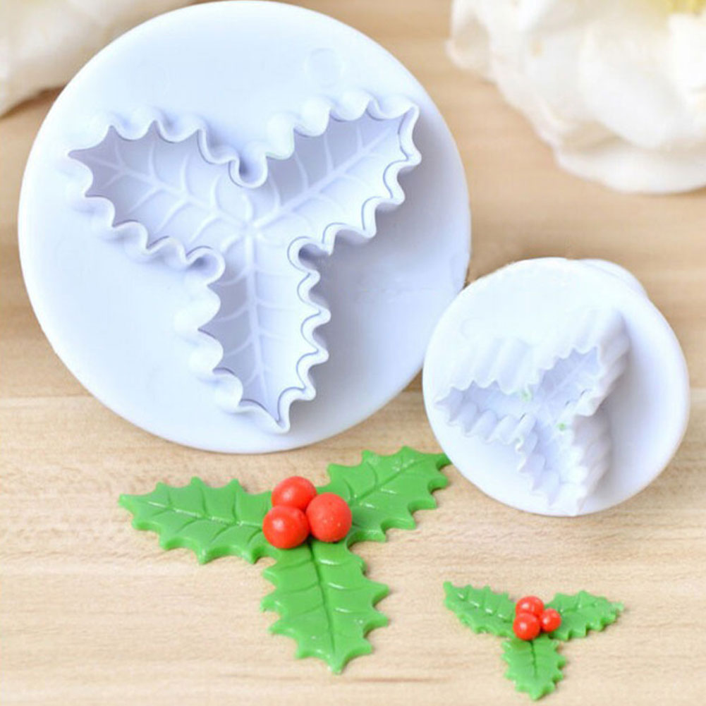 2pcs Christmas Cookie Cutter DIY Holly Leaf Plunger Molds For Cupcake Cake Topper Decorating Embossing Tools