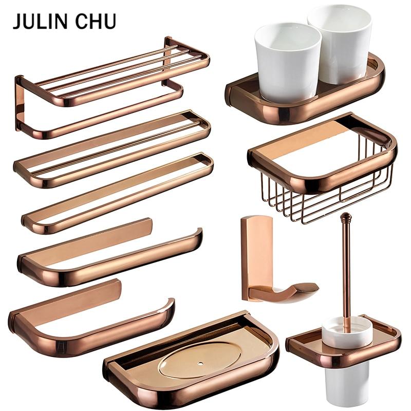 Rose Gold Bathroom Accessories Set Antique Ceramic Toilet Brush Holders Brass Wall Mounted Towel Paper Holder Bathroom Shelf