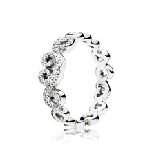 Keris Store 100% 925 Sterling Silver 1:1 Original 197117CZ HEART SWIRLS RING Women's Jewelry Charming Gift(China)