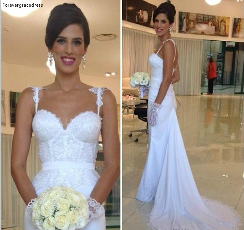 New Romantic Spaghetti Straps Backless Wedding Dress Sweetheart Lace Long Garden Formal Bridal Gown Plus Size Custom