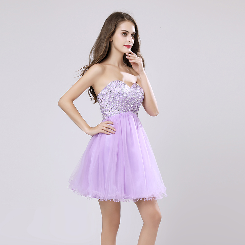 Cheap Cocktail Dresses 2019 Knee- Length Tulle Sequined Sweetheart Formal Prom Gowns Short Party Dresses For Teens OS034