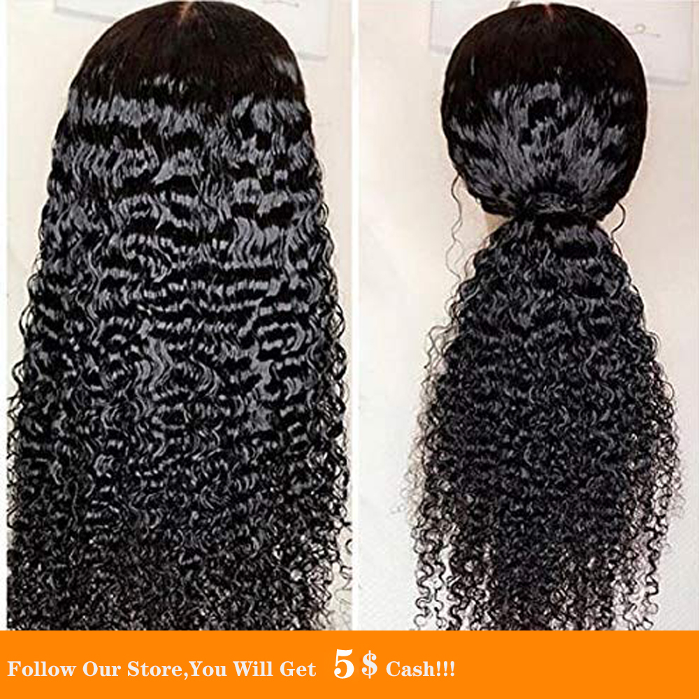 13x4 Curly Wigs For Black Women Synthetic Lace Front Wigs Bundles Long Black Loose Wave Wig Heat Resistant Fiber Natural Looking