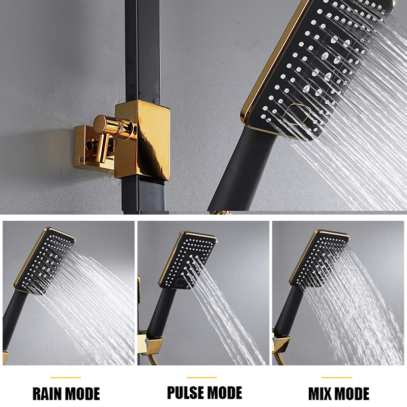 Hot Cold Shower System Bathroom LED Digital Shower Set Wall Mount Smart Thermostatic Bath Faucet Square Hot Cold Shower System Bathroom LED Digital Shower Set Wall Mount Smart Thermostatic Bath Faucet Square Head SPA Rainfall Grifo
