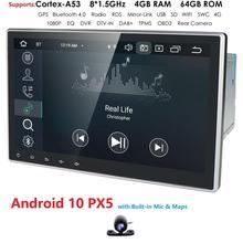 10.1 Inch 2Din Android10.0 범용 자동차 아니 DVD 플레이어 스테레오 라디오 GPS 네비게이션 와이파이 블루투스 DAB OBD2 TVbox 4 기가 바이트 RAM + 지도 + 캠