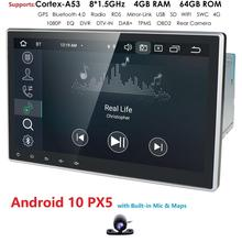 10.1 Inch 2Din Android10.0 Universal Car No DVD Player Stereo Radio GPS Navigation WIFI Bluetooth DAB OBD2 TVbox 4GB RAM+Map+CAM