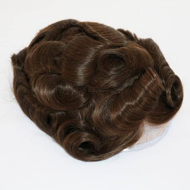 6 pulgadas líneas de los hombres de reemplazo de cabello humano Pelo Largo duradera adhesivo para peluca Suiza Peluca de encaje de los hombres