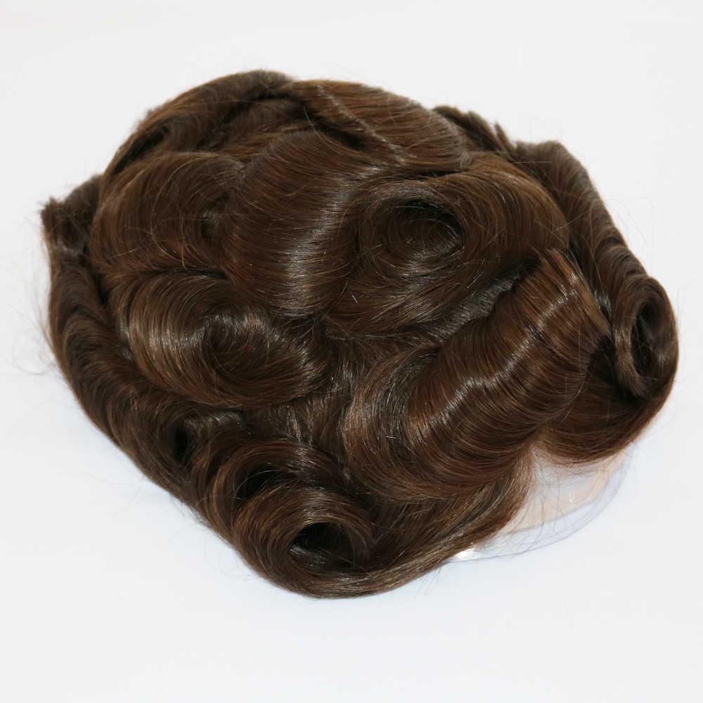 6 zoll Natürliche Haarlinien männer Toupet Haar Ersatz Menschenhaar Langlebige Klebstoff Haarteil Schweizer Spitze Perücke Männer