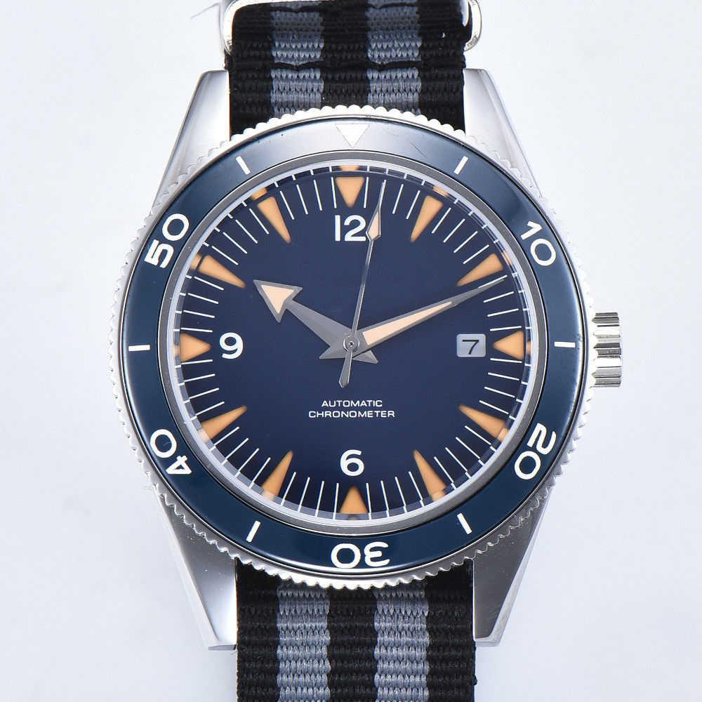 Corgeut 41mm Sterile Sapphire Crystal Blue Ceramic Bezel Mens Seagull Automatic Watch.