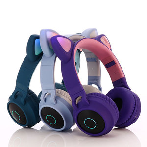 Image 3 - Cute Cat Bluetooth 5.0 Headset Wireless Hifi Music Stereo Bass Headphones LED Light Mobile Phones Girl Daughter Headset For PC