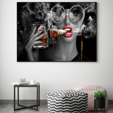 Modern Abstract Canvas Painting Creative Art Burning Money Smoking Clouds Wall Art prints for Study Room Office and Home Decor
