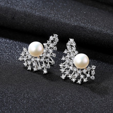 YUEYIN 925 Sterling Silver Stud Earrings AAA Zircon Nature Pearl Korean INS Style High Quality Party Jewelry