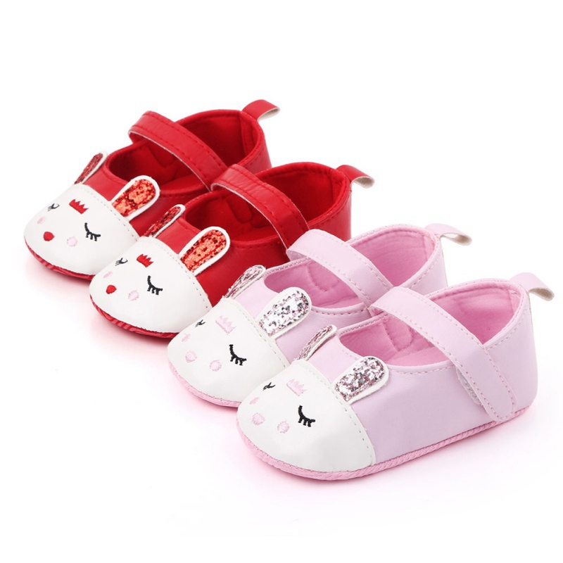 2020 Infant Baby Girl Cartoon Rabbit Crib Shoes Anti-slip Prewalker Cotton Newborn Toddler Sneaker Bunny First Walkers