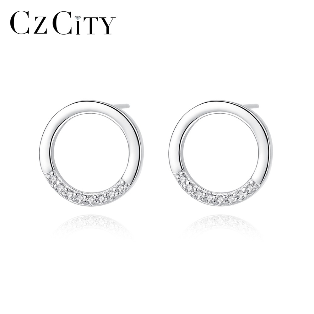 CZCITY Pure Sterling Silver 925 Lovely Round Stud Earrings For Women With Tiny CZ Minimalist 925 Earrings Jewellery Gifts Bijoux