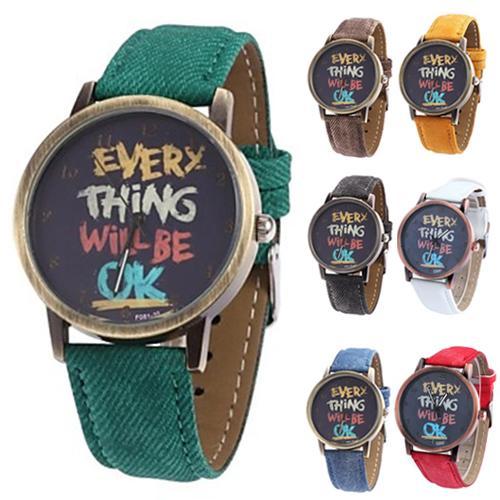 Men's Women's Couple Watch Every Thing Will Be Ok Denim Band Analog Quartz Dress Wrist Watch Montre Femme часы мужские