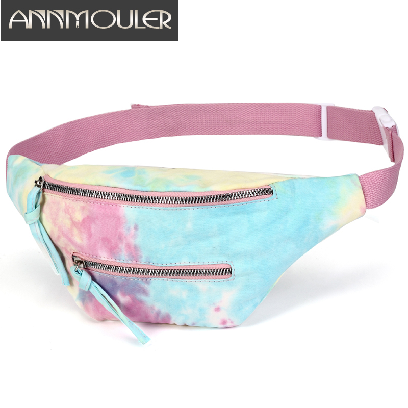 Fashion Waist Bag Women Canvas Fanny Pack Large Capacity Tie-dyed Phone Pocket Zipper Pockets Chest Bag Trendy Luxury Belt Bag