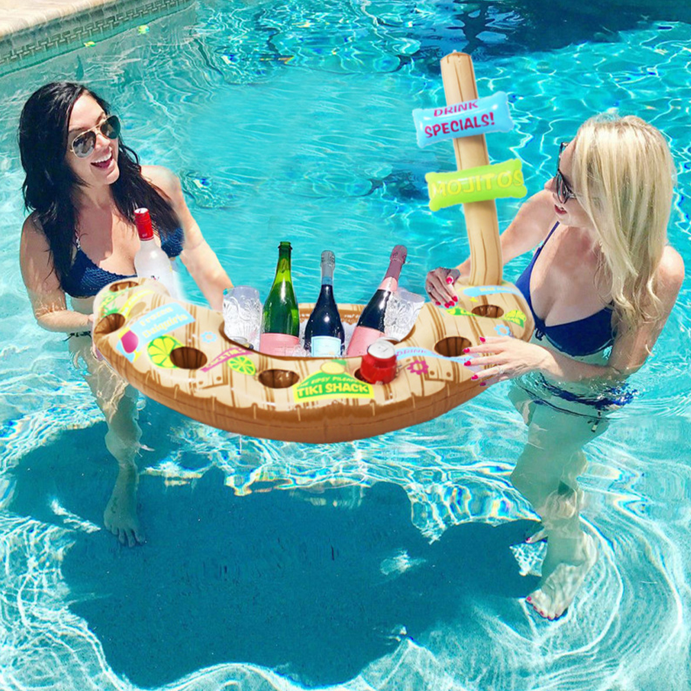 Beach PVC Kids Toy Swimming Pool Floating Watertop Beer Drinking Cooling Water Play Inflatable Ice Bar Portable Food Storage