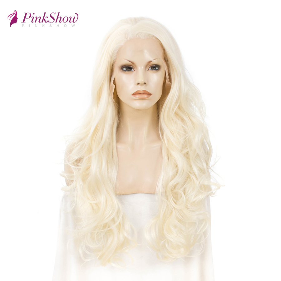 Pinkshow Blonde Lace Front  Wigs For Women Long Synthetic Lace Front Wig Heat Resistant Fiber Glueless Wig Daily Wig 26 inches
