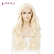 Pinkshow Blonde Lace Front  Wigs For Women Long Synthetic Lace Front Wig Heat Resistant Fiber Glueless Wig Daily Wig 26 inches brazilian losse curly synthetic wigs glueless synthetic lace front wig for black women heat resistant lace front wig