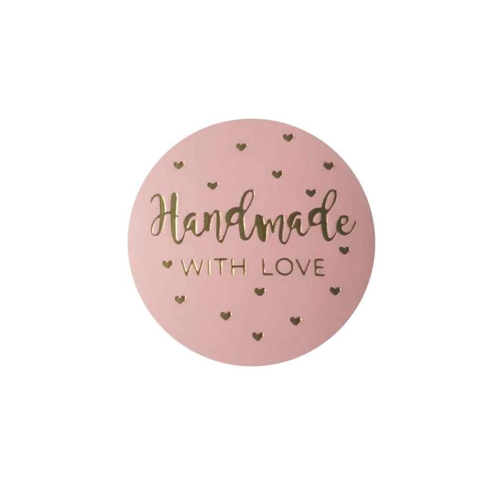 prodotti fatti a mano per piccole imprese 500 adesivi rosa fatti a mano con amore con lamina dorata autoadesivi fatti a mano con amore per panetterie per spedizioni di compleanno 2,5 cm B