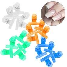 5 pçs 4 cores c curva prego extensão beliscar clipes multi-função plástico unha arte acessório profissional manicure pinça ferramenta