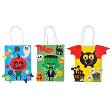 3pcs Paper Gift Bags With Handles Halloween Candy Bag Party Shop Store Gift Package Wrapping Candy Bag Bat Pumpkin Scientist(China)