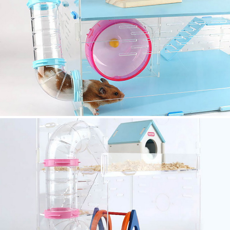 Hamster Toy Pipe Acrylic Transparent Tube Hamster Toys Small Animal Hamsters Cage Tube Toy 1Pcs Pet Plastic Pipe Line Tubes