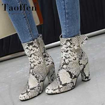 Taoffen Snakeskin Fashion Ankle Boots Side Zipper Buckle Square High Heels Shoes Winter Club Warm Mujer Botas Size 35-43