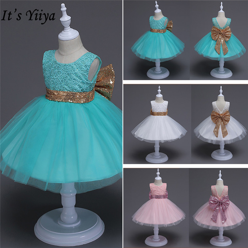It's YiiYa Flower Girl Dresses  3 Colors Sleeveless Bow Lace Sashes Kids Party Dresses For Girls Elegant Ball Gown 147
