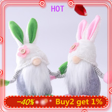 Home-Decoration Ornament Easter Bunny Spring Plush Rabbit Gnome Elf Swedish Handmade