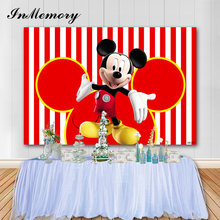 InMemory Vinyl Baby Shower Mickey Mouse Background Red White Stripes Children Birthday Party Photography Backgrounds Photo Booth(China)