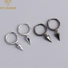 XIYANIKE 925 Sterling Silver Geometric Hexagonal Conical Pendant Hoop Earrings Punk Trendy Fashion Handmade Jewelry Couple Gift