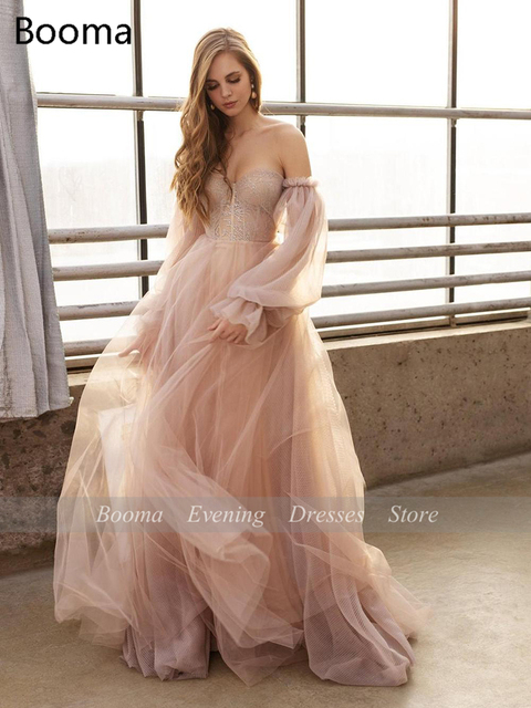Sweet Dusty Pink Prom Dresses 2021 Off Shoulder Long Sleeves Princess Party Dresses Crumpled Tulle A-Line Formal Evening Gowns 3