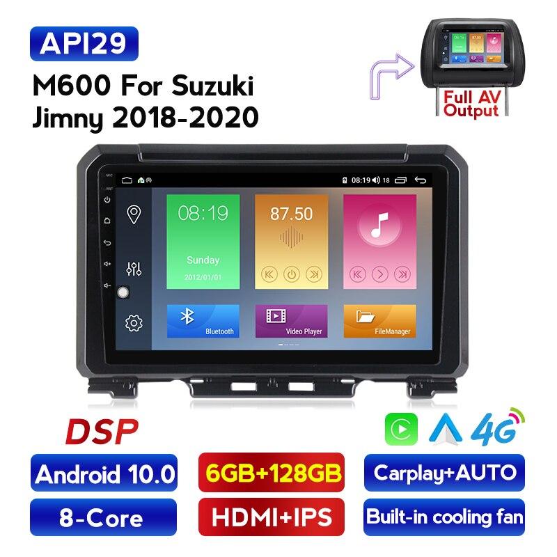 Octa núcleo carro multimídia player android 10 para suzuki jimny 2019 4g lte ips dsp embutido carplay gps naviagtion 2din