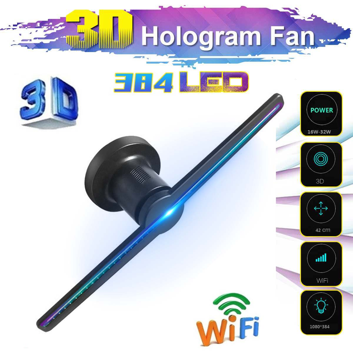 2020 New 3D 384 Lamp Beads LEDs Hologram Fan Projector Advertising Display WIFI Holographic Display Player EU US AU Plug